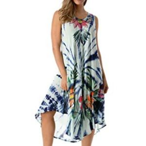 Tie Dye Dress with Floral Hand Painted Design